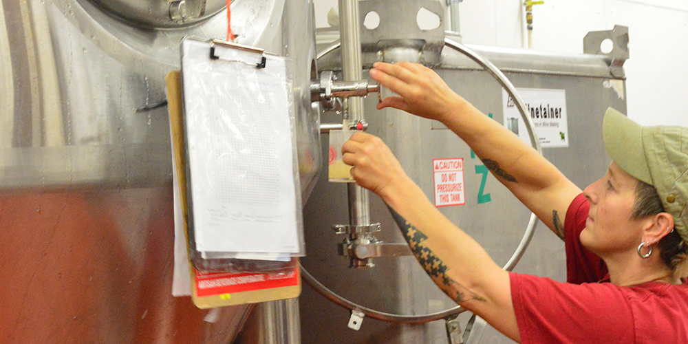 Artisan Beverage Cooperative's Assistant Brewer Sarah Nolan gives a quick tour and a taste of their Ginger Libation from the tap.