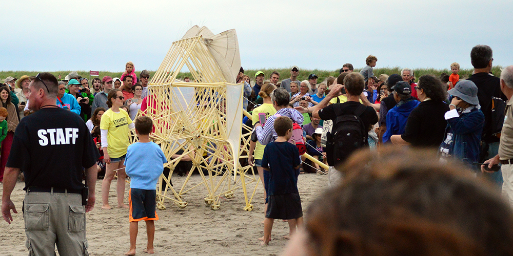 Woke up very early to get to Crane Beach to see the mythical Strandbeest, a retro-futuristic wind-powered robot by Theo Jansen
